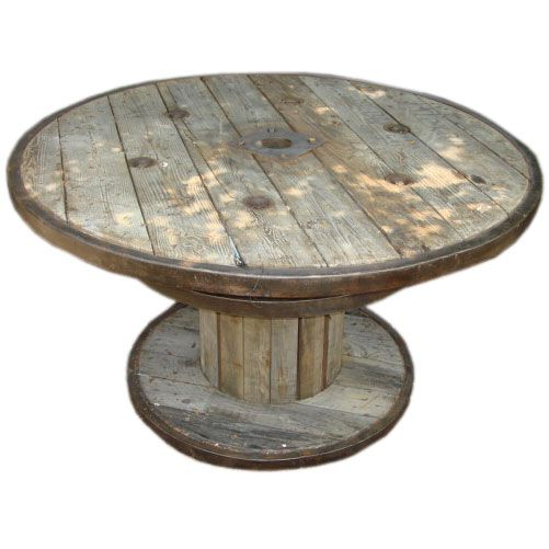 belgian marine cable wood and iron spool table | more spool tables