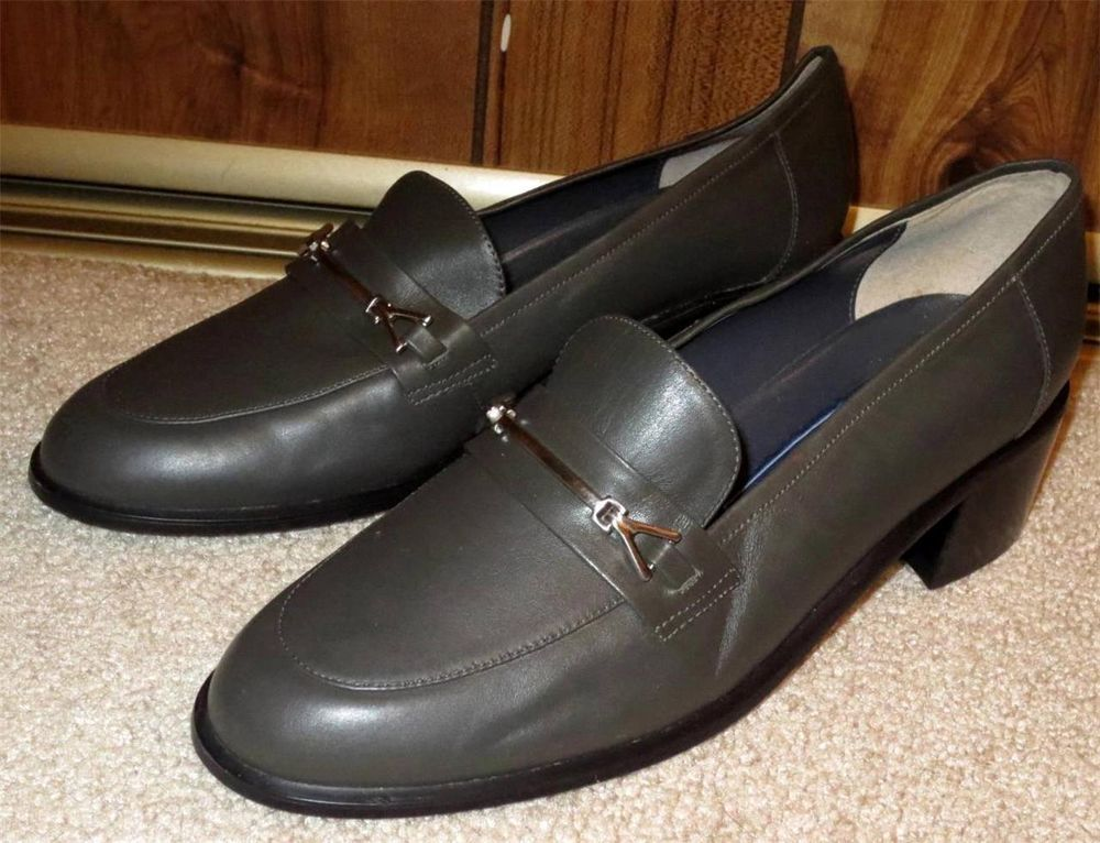 Woman's Karen Scott Gray Leather Soft Step Loafers Horse Bit Size 7M Huron I #KarenScott #LoafersMoccasins  Now $19.87