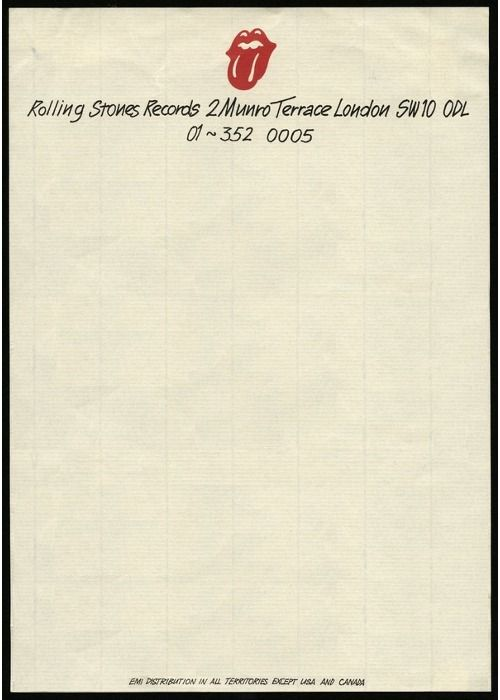 Official letterhead belonging to The Rolling Stonesu0027 own record - Official Letterhead
