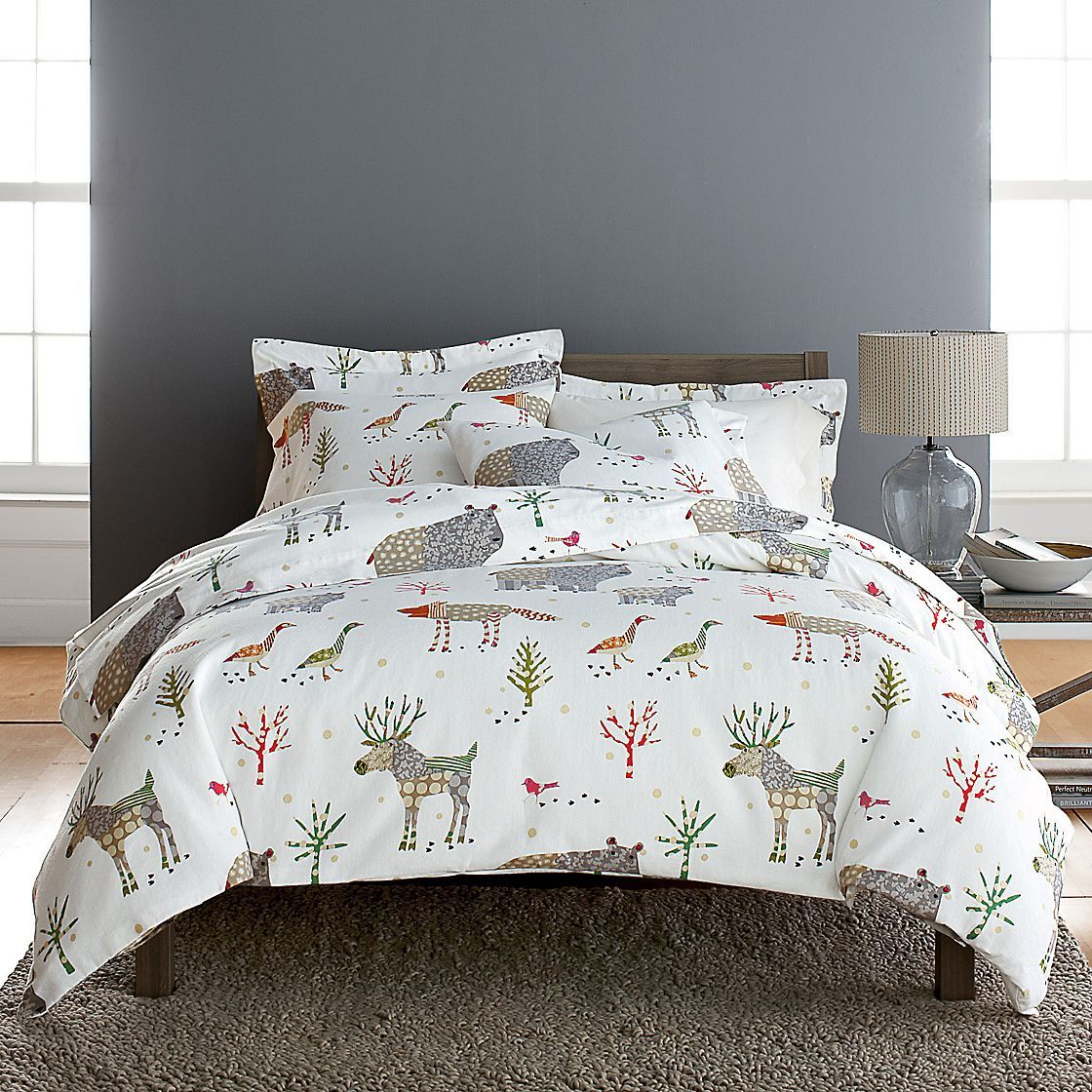 Winter Forest Flannel Comforter Cover / Duvet Cover and