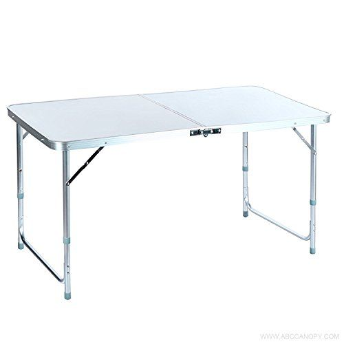 4ft Aluminum Portable Folding Utility Table With Carrying Handle For Indoor Outdoor Picnic Party Dining C Camping Table Camping Furniture Folding Camping Table