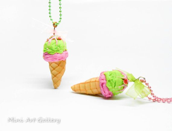 Scented - Strawberry peanut ice cream necklace / pink green ice-cream cone / kawaii charm / realistic miniature food jewelry  polmyer clay. © Mini Art Gallery