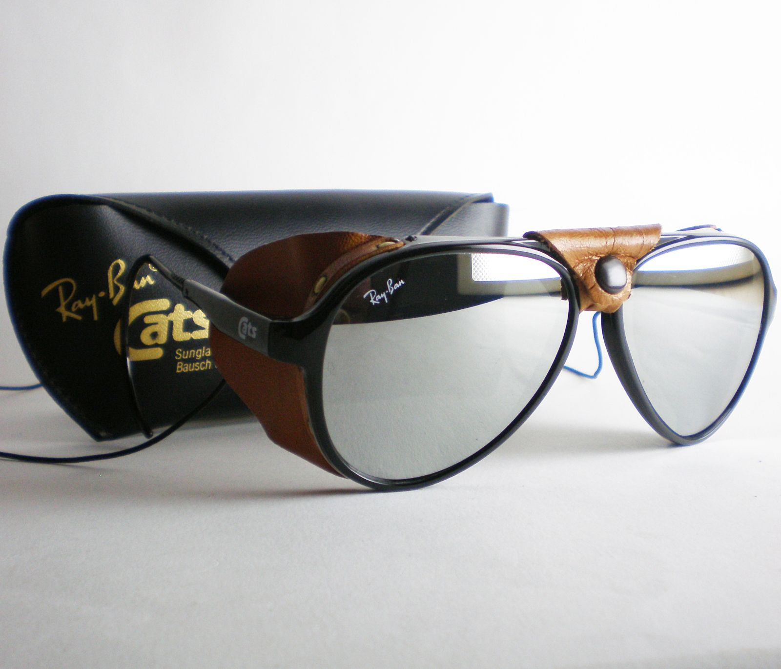 c691cb62769 Vintage Ray Ban CATS 8000 MIRRORED Sunglasses aviator side shield leathers  black