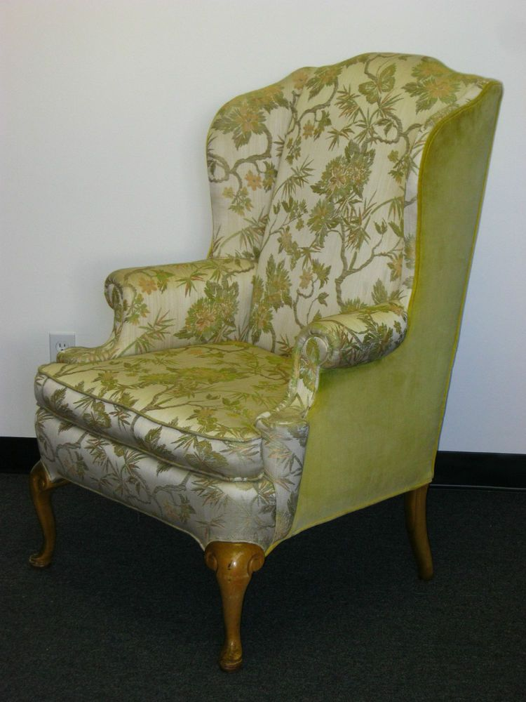 Vintage French Provincial Wingback Arm Chair Floral Yellow