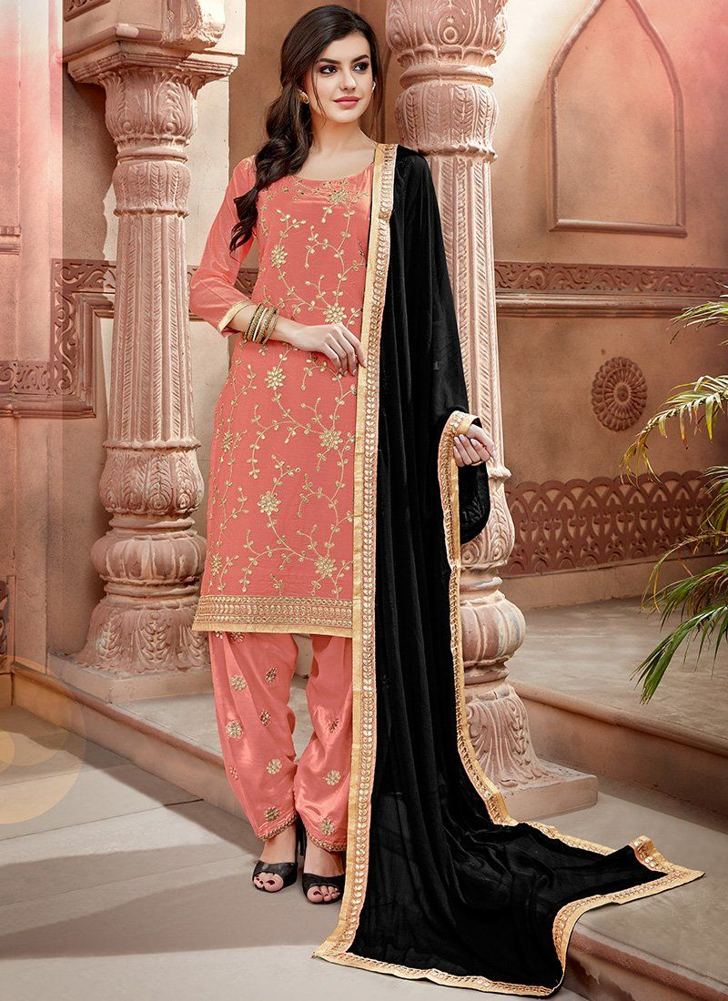 4b75b70a0e Light Peachy Pink and Black Embroidered Chanderi Punjabi Suit ...