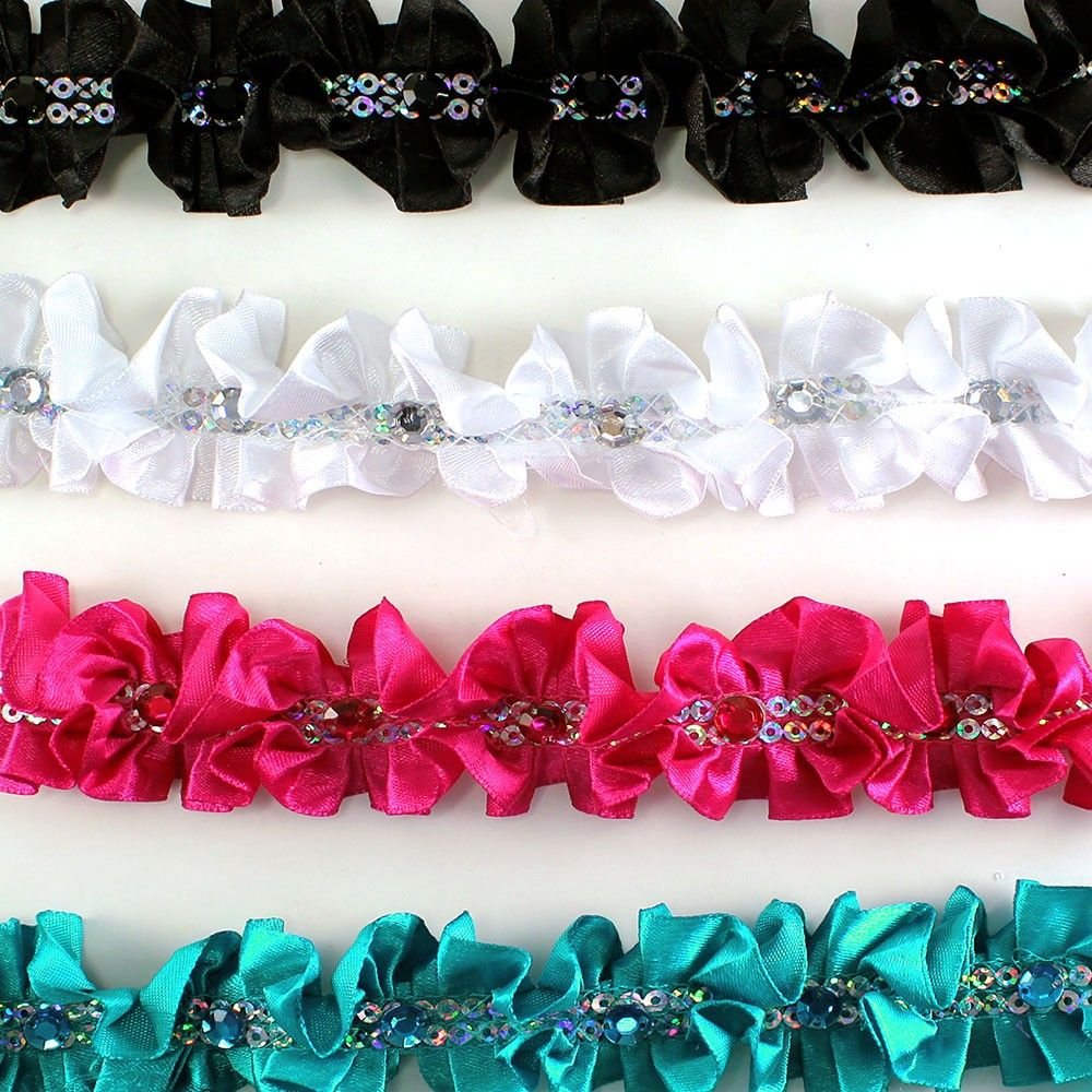 """Double Sided Satin Ruffle Trims With Rhinestones 1-1/4"""" (pack of 10 yards)"""