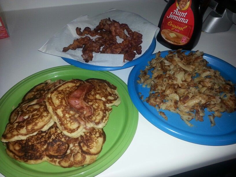 Cheat day! Family breakfast: Bacon pancakes,  southwest hash browns,  and bacon. Just dont eat a ton of it on your cheat day lol