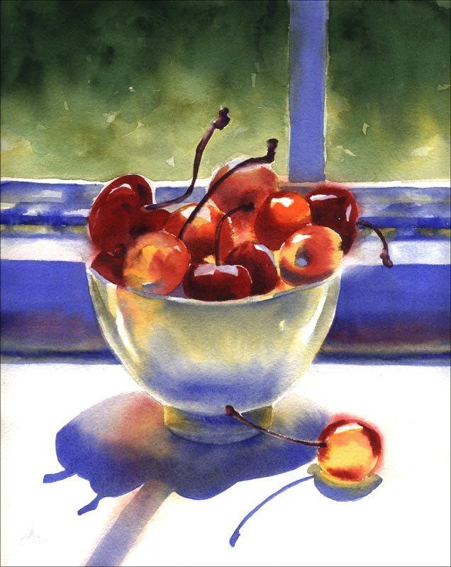 Watercolor Cherries Print Red Cherry Bowl Painting 28 00 Via