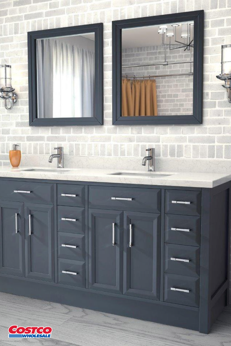 Calais 75 Pepper Gray Double Sink Vanity By Studio Bathe With