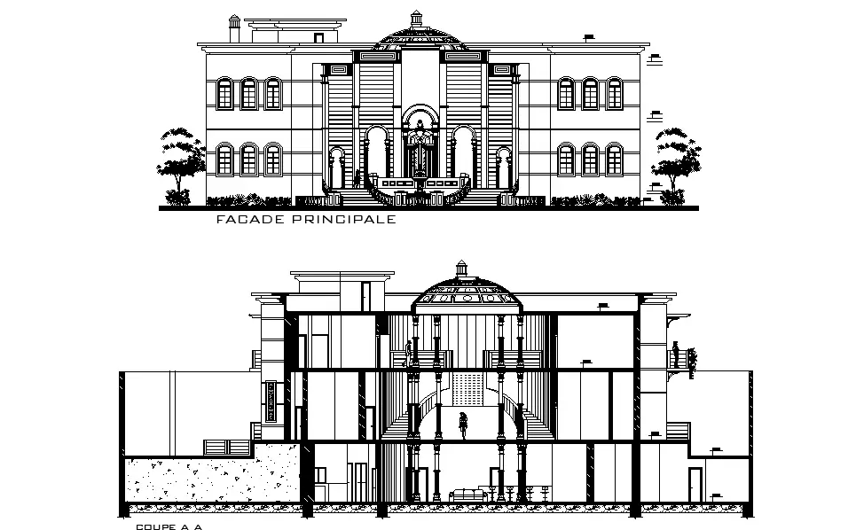 Architecture Bungalow Elevation And Section Drawing Download DWG File