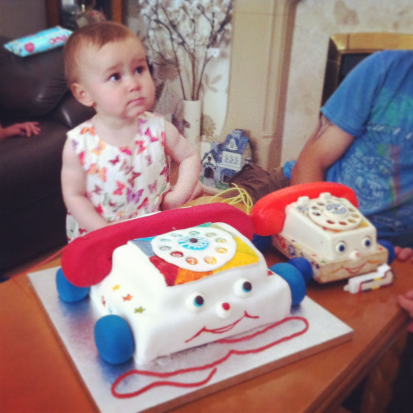 Pleasing 1St Birthday Cake A Fisher Price Telephone Cake With Images Personalised Birthday Cards Beptaeletsinfo
