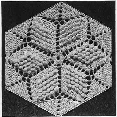 Popcorn Star Bedspread Pattern 651 Swatch Free Crochet Pattern