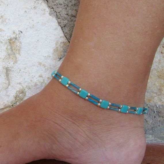 Ankle Bracelet Turquoise Beaded Anklet Ladder Chain Seed Bead Beach Beadwork Jewellery