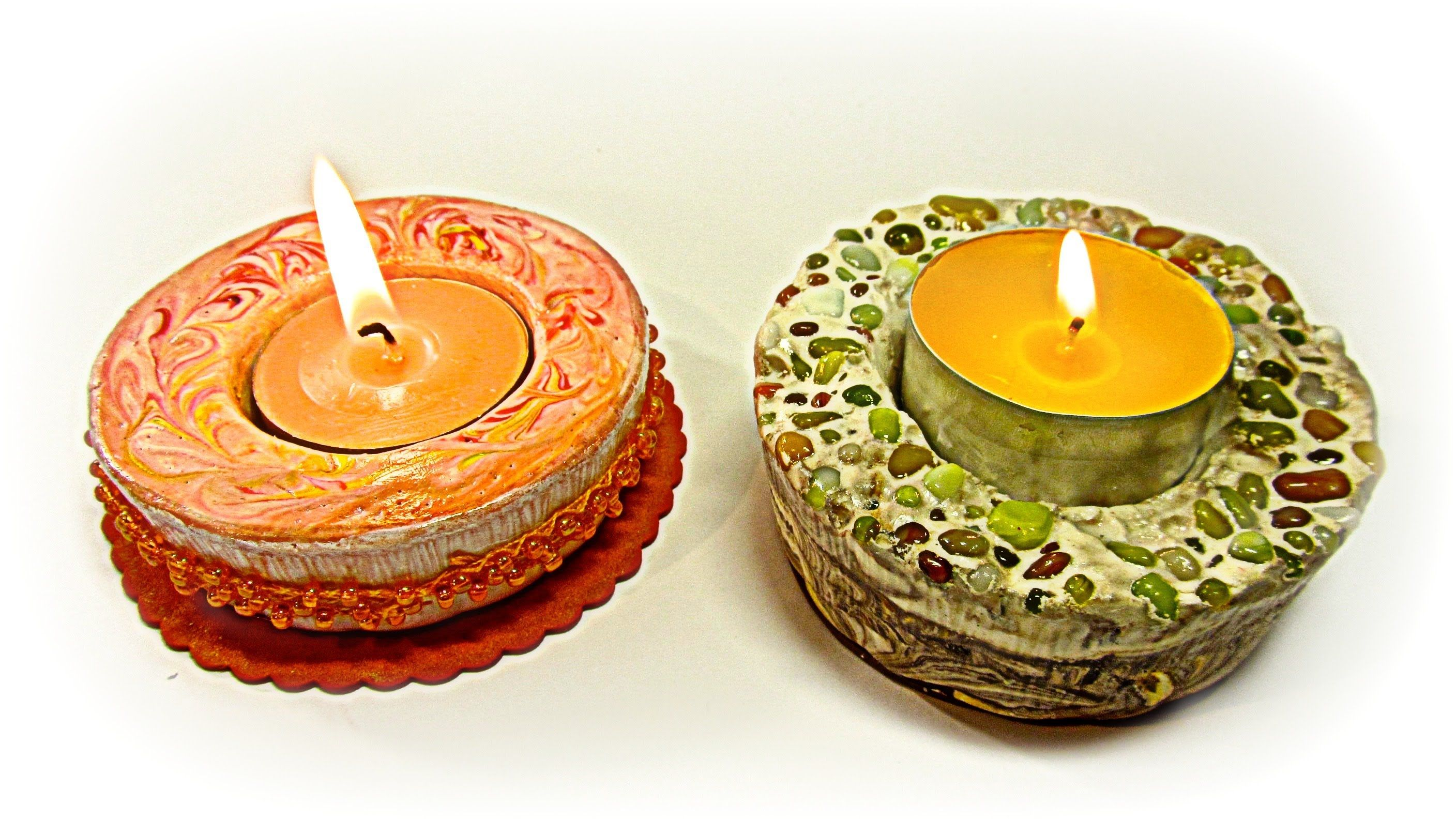 Plaster candle holders.