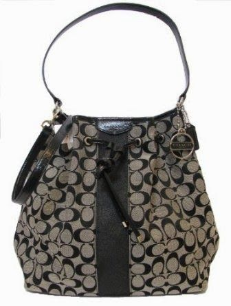BagblackMade Drawstring Coach Signature Stripe Shoulder In Tas WHE2YbeD9I