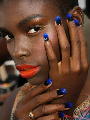 Gallery For Summer Nail Polish Colors For Dark Skin Blue Shiny Nails With Red Lips Nail Trends Ombre Nails Moon Manicure