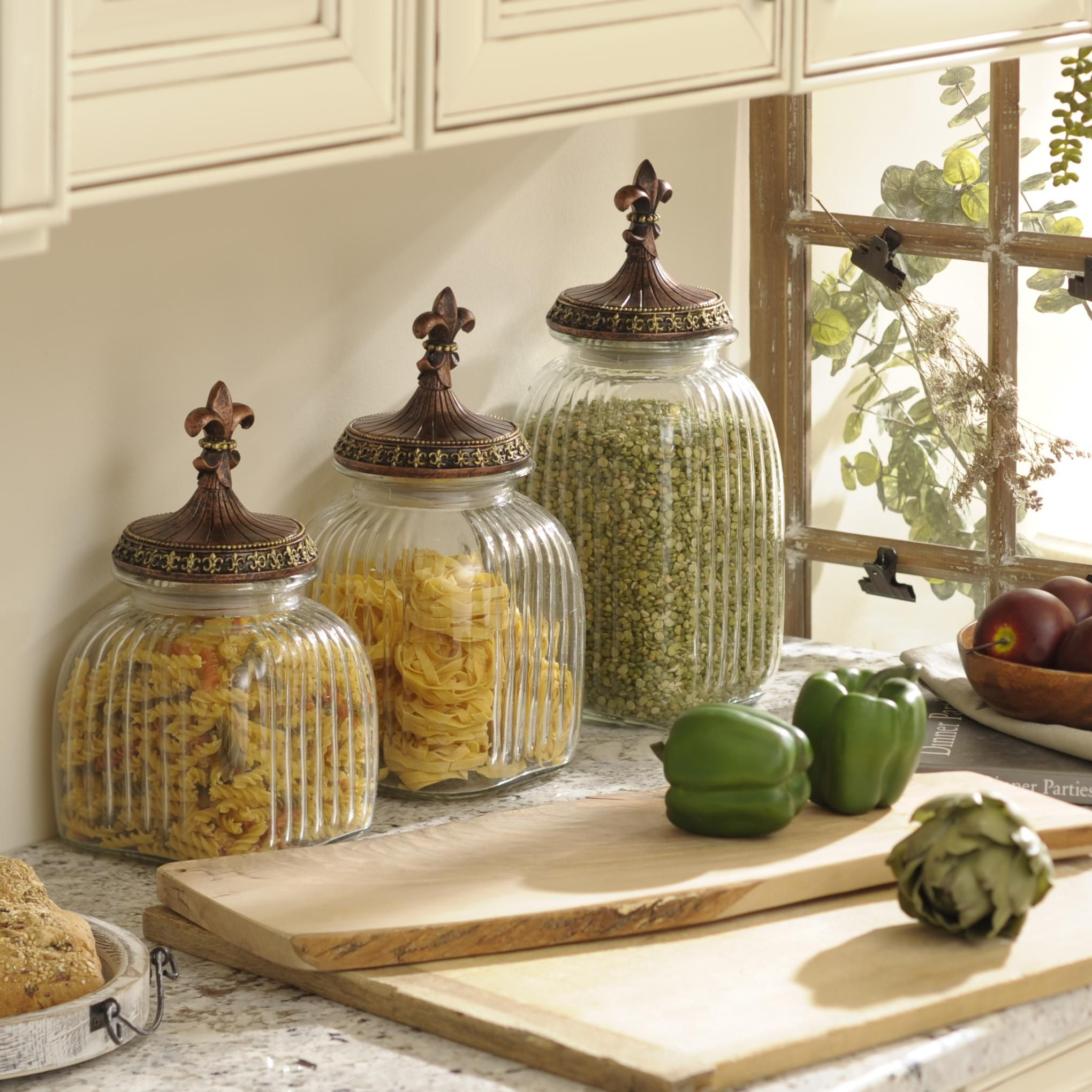 Kitchen canisters glass  Clear FleurdeLis Canister Set of   Kitchens Canister sets and