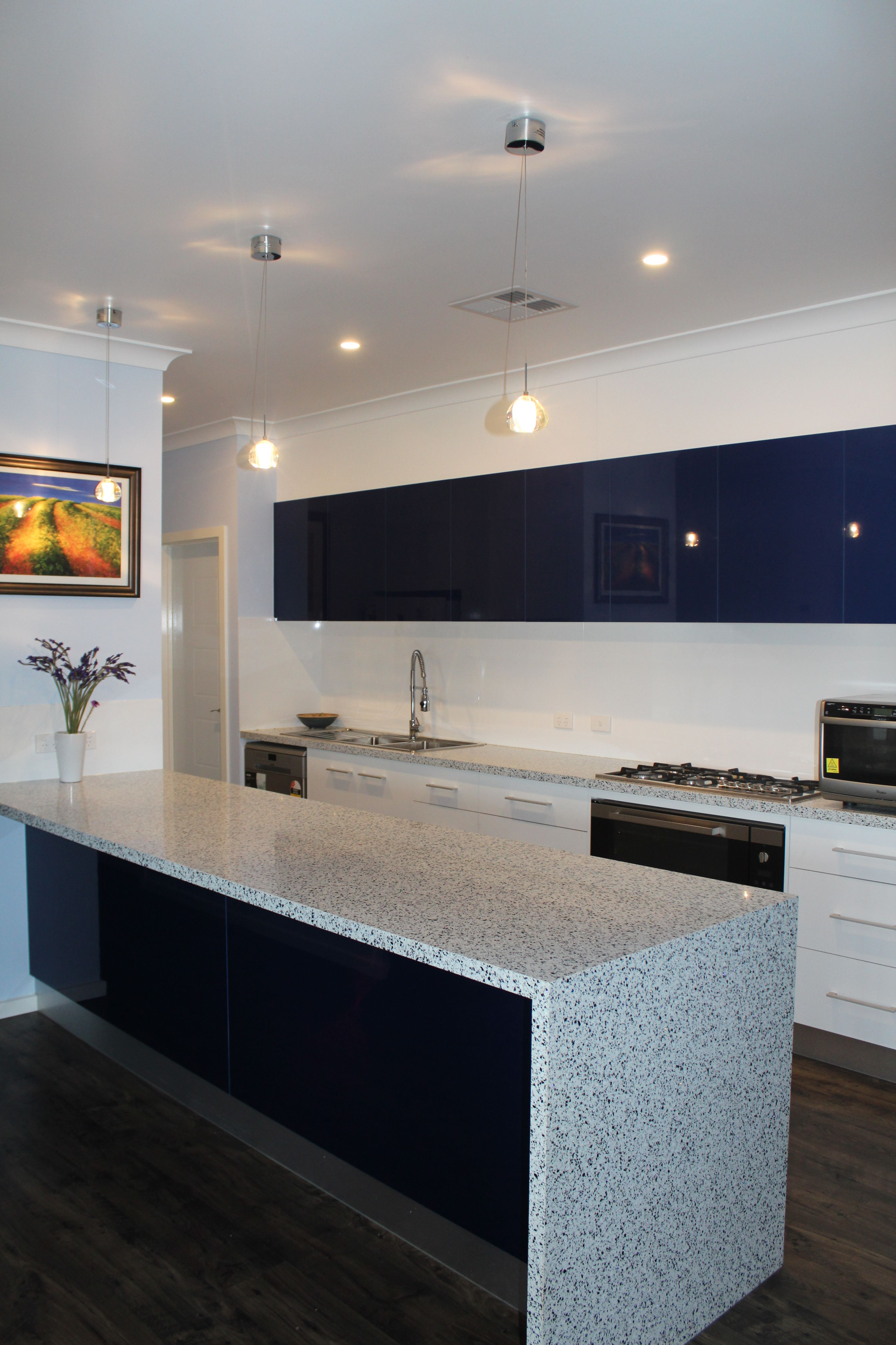 Benchtops trend surfaces white blue panels formica for Laminex kitchen designs