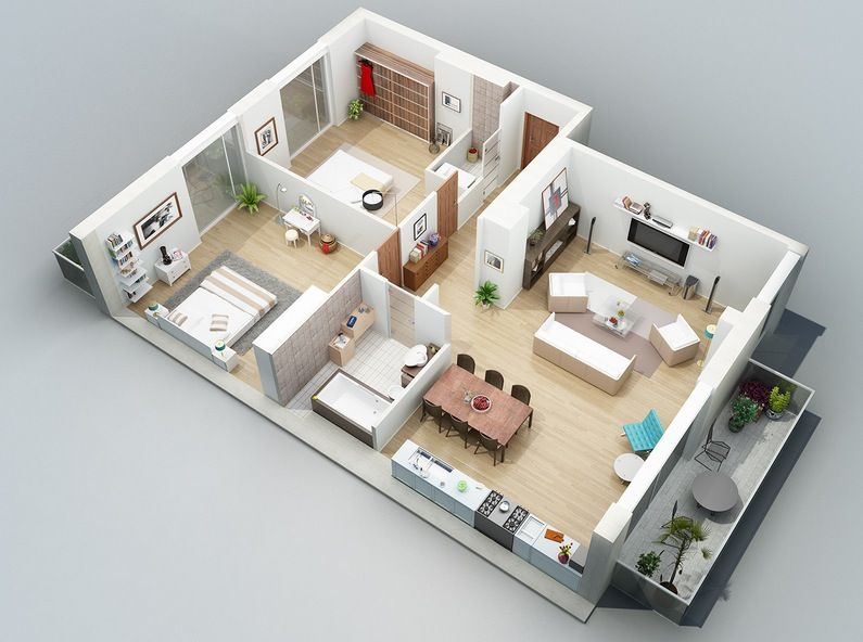 3D Concept Application To Home Floor Plan Design : A Nice Apartment Layout  With 2 Bedroom
