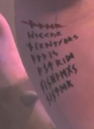"Did anyone else realize the list of names on Dagur's arm in ""Race to the Edge""? The first one is crossed out, but the second one says Hiccup, the fifth one says ""Astrid"" and the last one says ""Sister"""