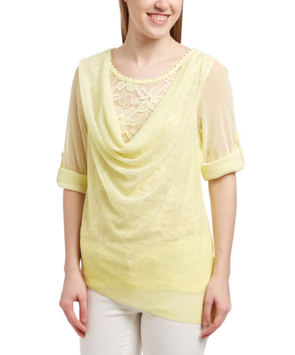 This miss u yes yellow lace silkblend drape top by miss u yes is