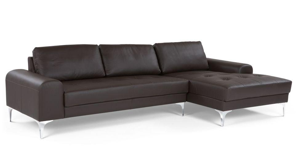 Vittorio Right Hand Facing Corner Sofa Premium Italian Deep Brown Leather Made Com Corner Sofa Sofa How To Make Corner Sofa