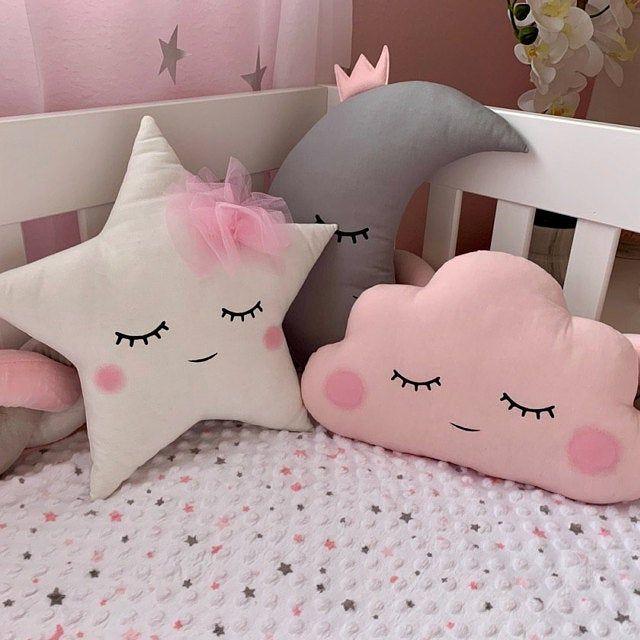 Coussins lune et étoile coussin enfant déco chambre bébé fille, décoration chambre, coussin etoile, cadeaux bébé naissance ou baptême