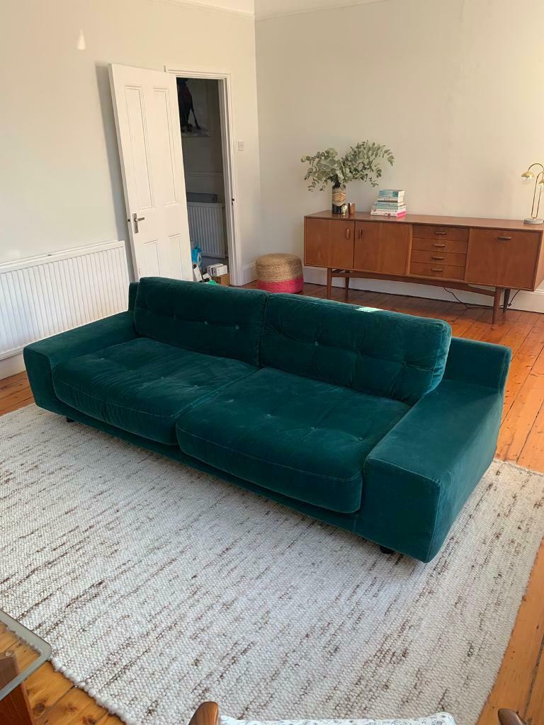 Hendricks 4 Seater Sofa Velvet Piave Emerald Green In Brixton London Gumtree Velvet Sofa Sofa Seater Sofa