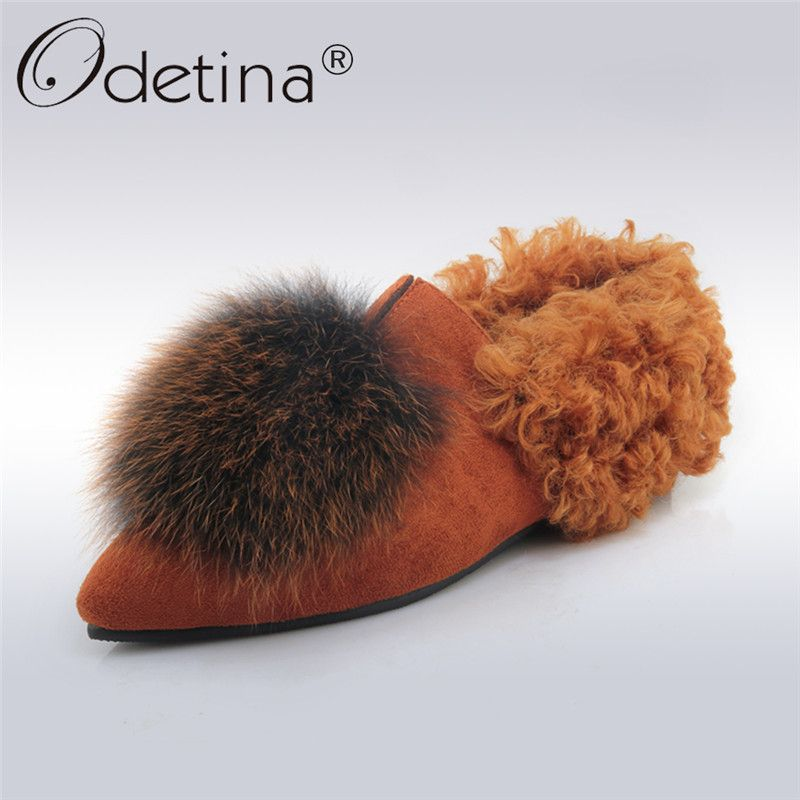e633ac50a87 Odetina 2017 New Women Autumn Winter Flat Shoes Real Fox Fur Pointed Toe  Flats Slip on