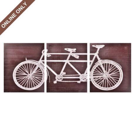 Wood Tandem Bike Wall Art, Set of 3 | Tandem bikes, Tandem and ...