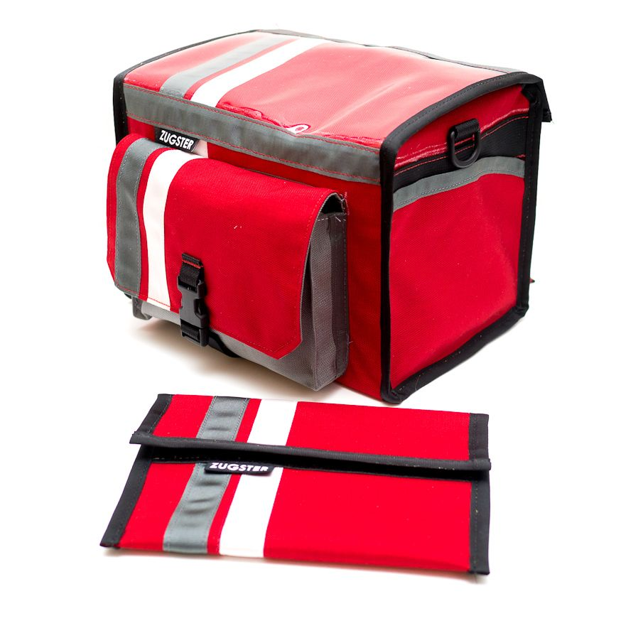 Zugster Custom Hand Made Messenger Bags: Zugster Bags: Medium Rando Bag, Red with Racing Stripes. $240
