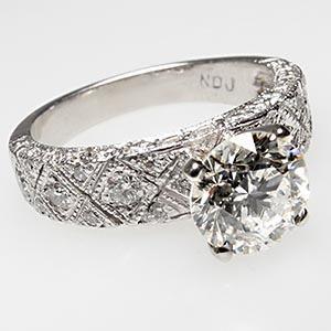 Eco Friendly Estate Diamond Engagement Ring Solid Platinum