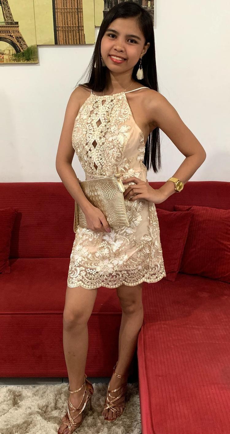 Gold floral sequined short dress stunning sequin dress