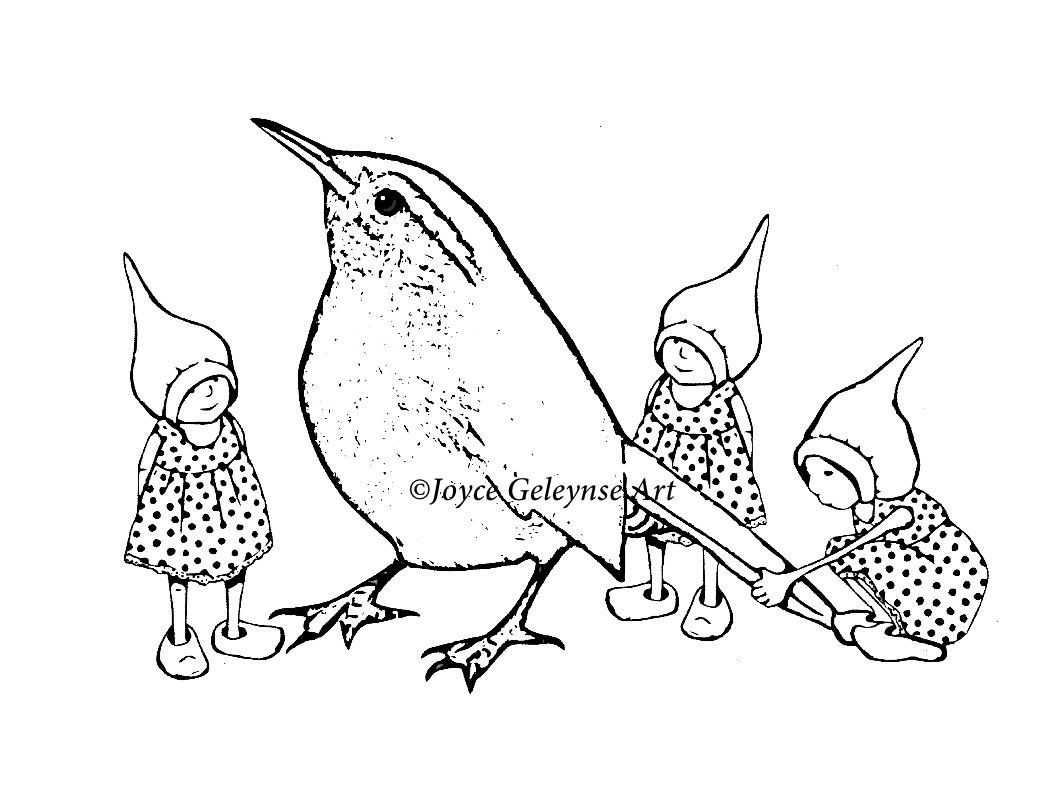 Digital stamp little gnome girls and a big bird fantasy art