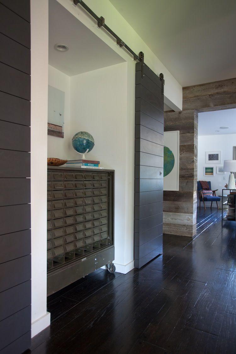 Hallway storage with sliding doors   Ways to Incorporate Barn Doors in Your Home  House tours Studio