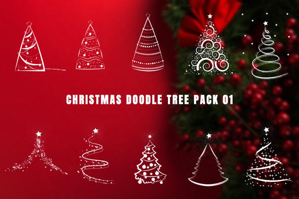 Christmas Doodle Tree Video Overlays Pack 01 Tree Doodle Christmas Doodles Doodles