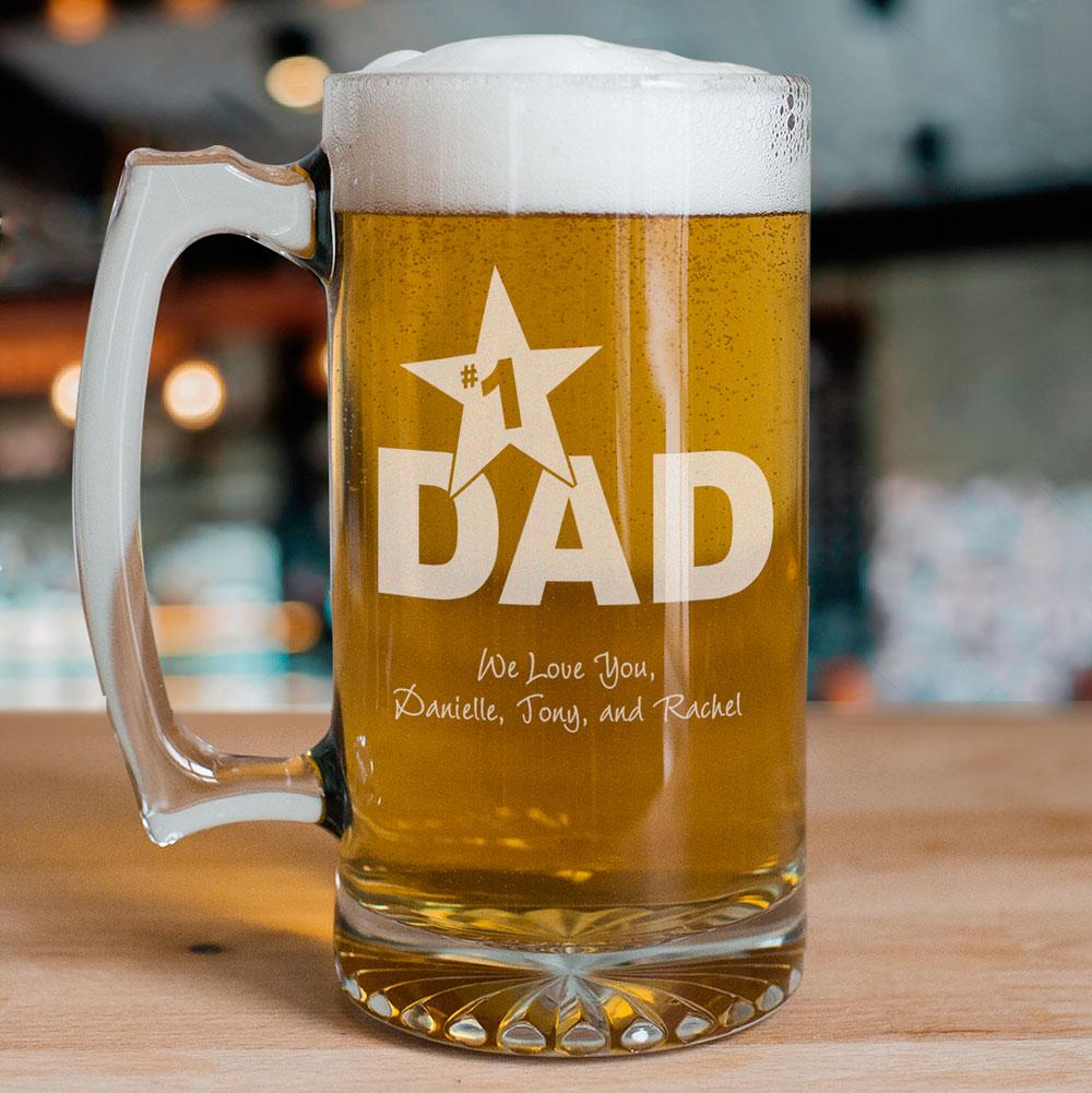 1 Dad Personalized Sports Glass Mug (With images