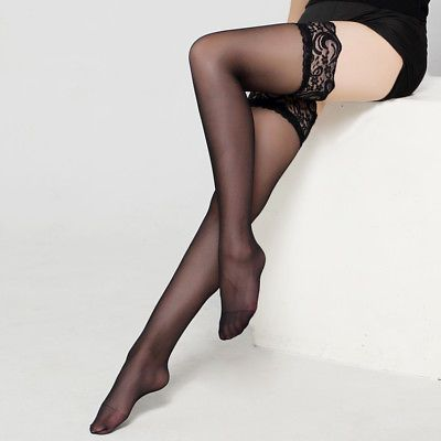 37f0eea3a28 New Fashion Women Sheer Thigh Sexy Lingerie Legs Thin Lace Soft Tights 6  Colors