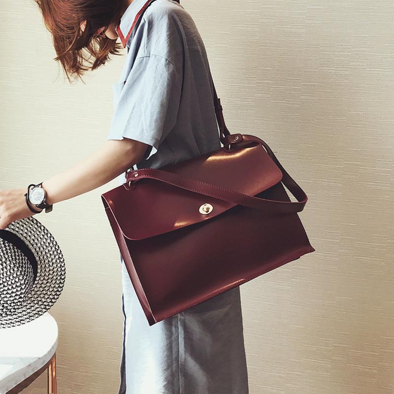 Photo of Retro PU Leather Crossbody Handbag Designer Ladies Briefcase Tote Bags