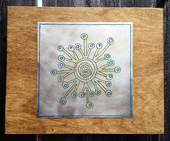 Green Peacock Pattern aluminum and wood embroidery by VonEsteban