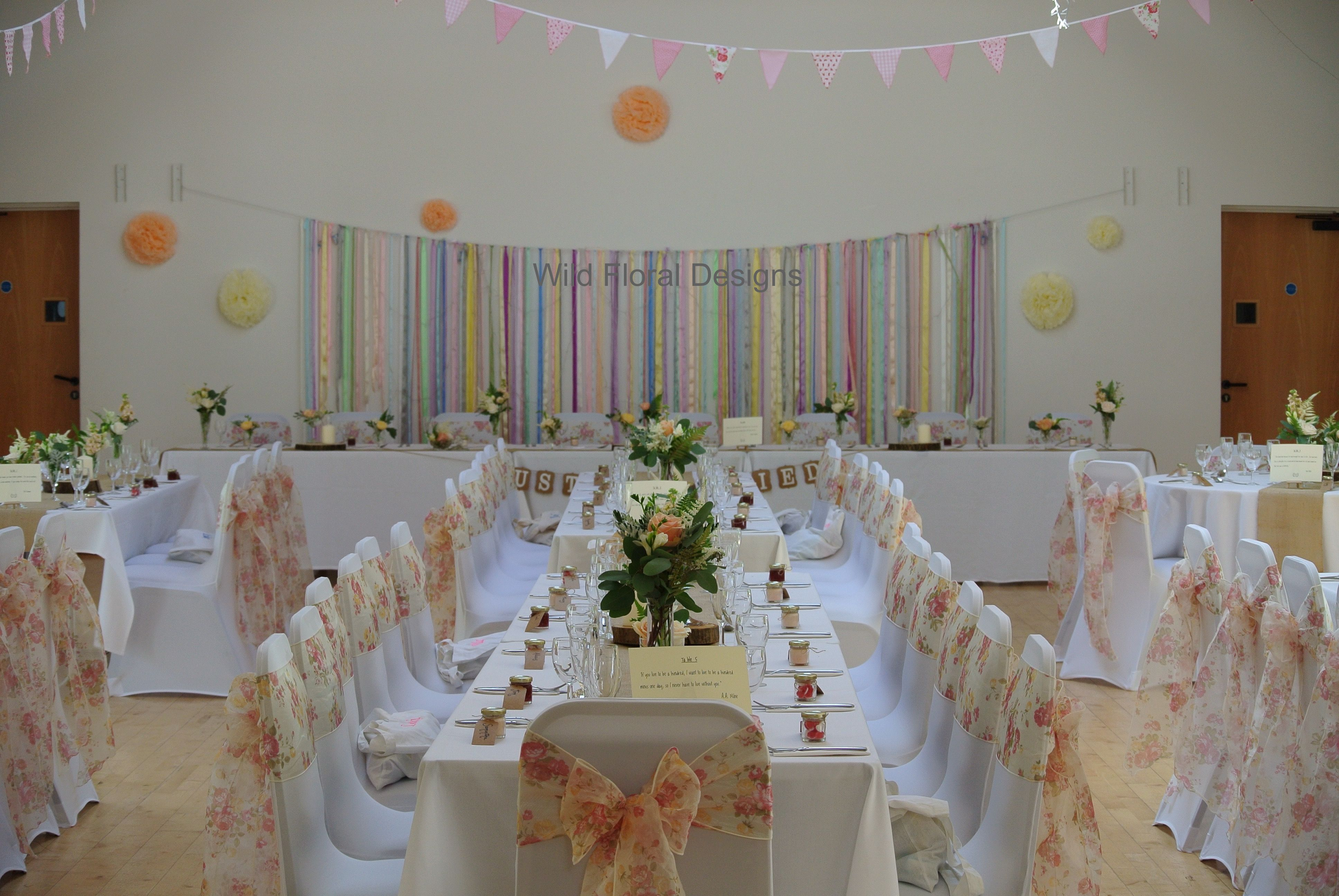 Stokeinteignhead village hall wedding devon chair covers sashes chair covers sashes hessian table runners and floral designs supplied by wild floral designs junglespirit Image collections