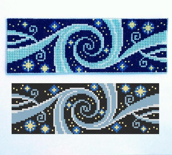 Galaxy Cross Stitch Bookmark PDF, Starry Night Sky, Outer Space, Celestial Pattern