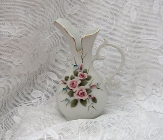 Hand Painted Kelvin Porcelain Pitcher Shaped Bud by myabbiesattic, $19.99
