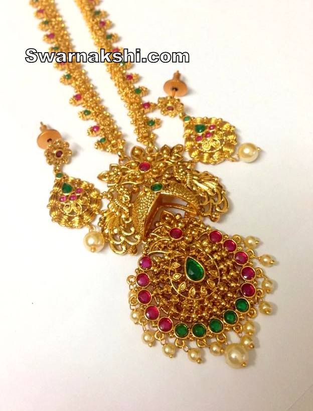 2d58d568e1 1 gram gold ruby emerald oval floral long necklace Visit showroom 3rd  Phase, KPHB, (diag opp to MORE supermarket), Hyderabad
