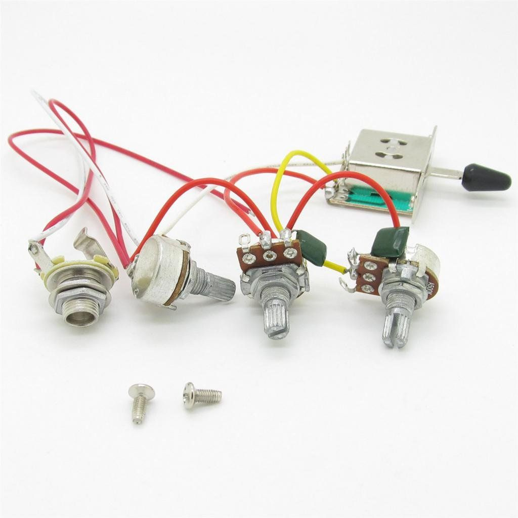 Guitar Wiring Harness Prewired 3x 500k Pots 1 Volume 2 Tone Control Way Switch Knobs For Strat Stratocaster 5