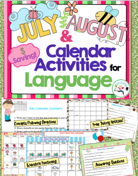 Calendar Ideas For July : July august calendar activities language students and