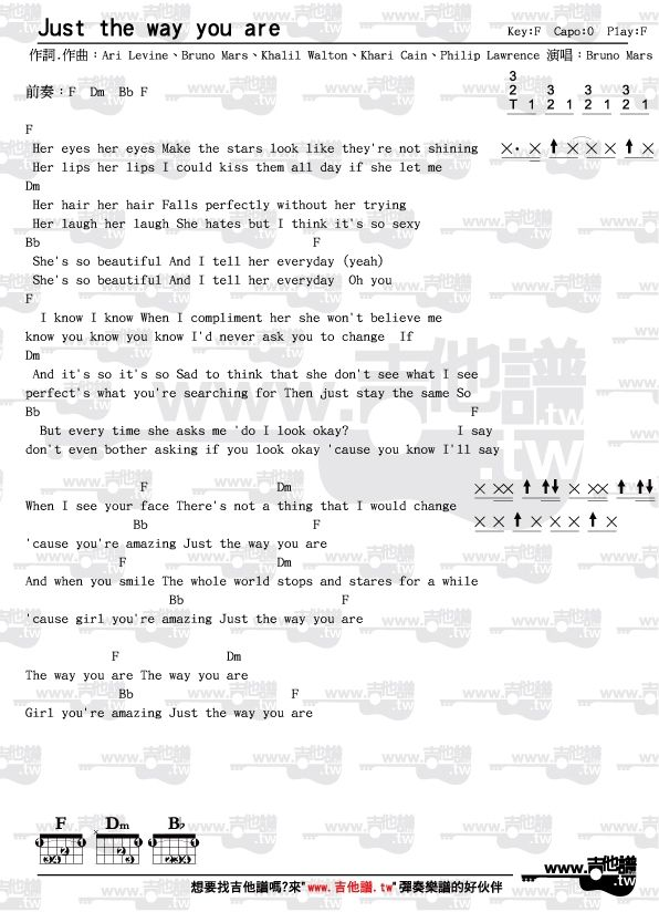 吉他譜-Just the way you are-Bruno Mars(節奏指法和弦圖完整版) - www ...