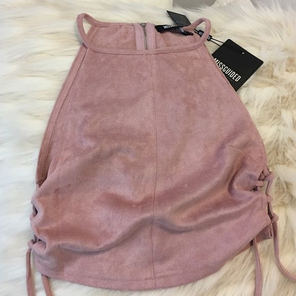 Mauve suede top Misguided brand new top pink/nude color Missguided Tops Tank Tops