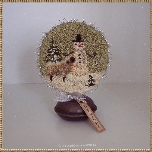 Winter Snow Globe- Original Primitive Punch Needle Snowman Sheep Christmas OOAK, #Christmas #Globe #Needle #OOAK #Original