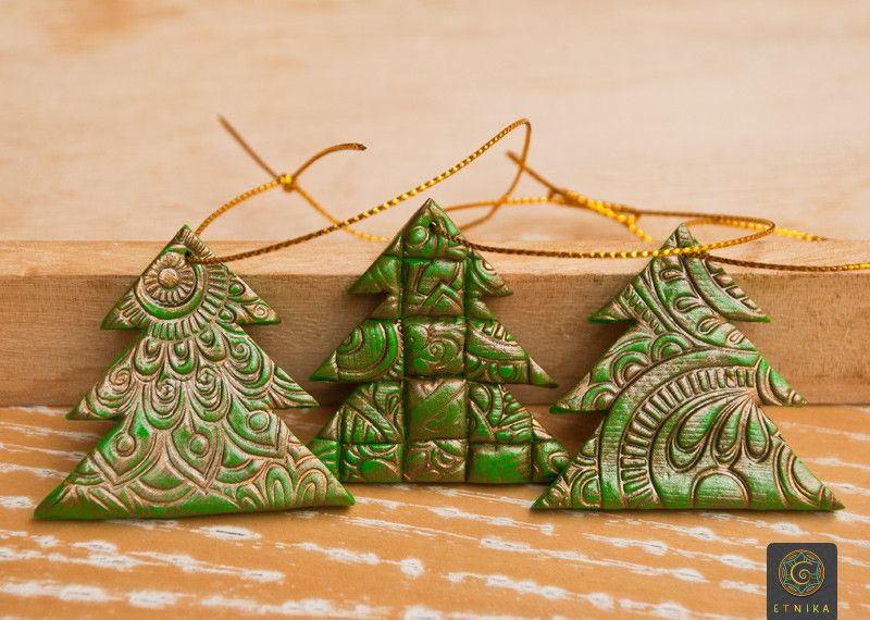 Christmas Decorations – Set of Three Christmas Trees Toys From ...